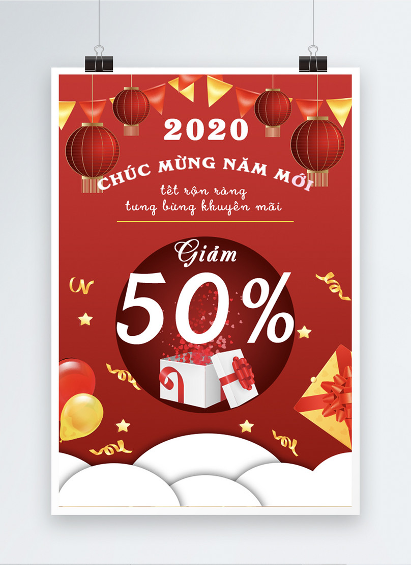 vietnamese red year end sale poster