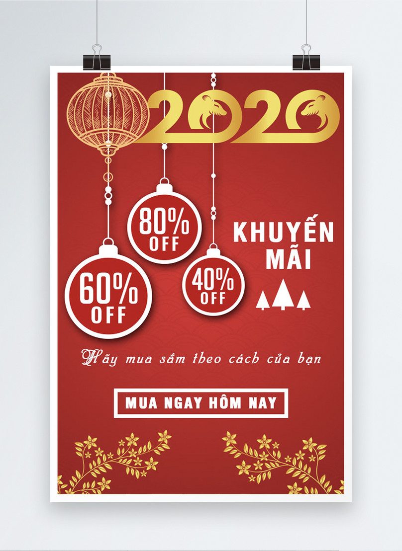 vietnamese new year promotion sale poster
