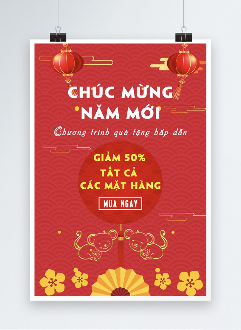 vietnamese red happy new year big sale posters