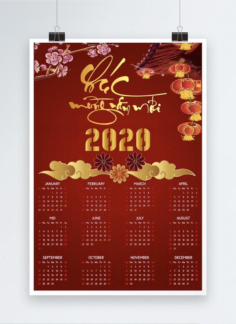 vietnamese year of the rat 2020 red calendar