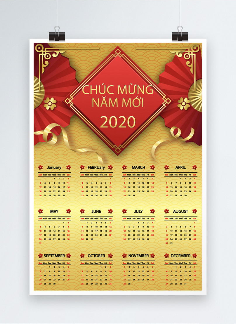 vietnamese dark gold new year 2020 calendar