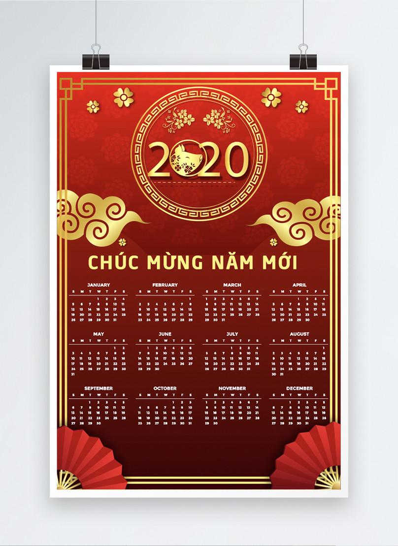 vietnamese red year of the rat 2020 calendar