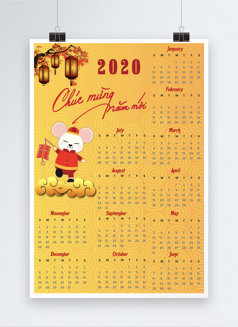 vietnamese golden cartoon 2020 year of the rat calendar