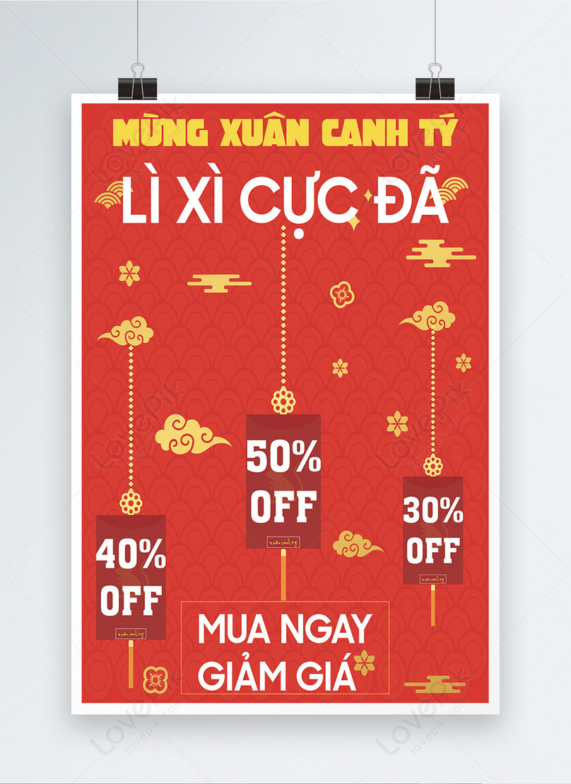 red vietnamese happy new year promotion poster