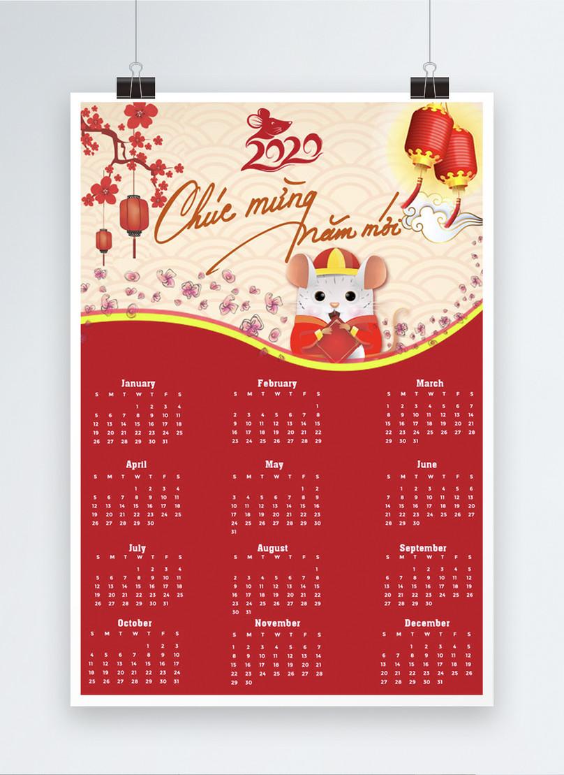 vietnam 2020 year of the rat cartoon calendar