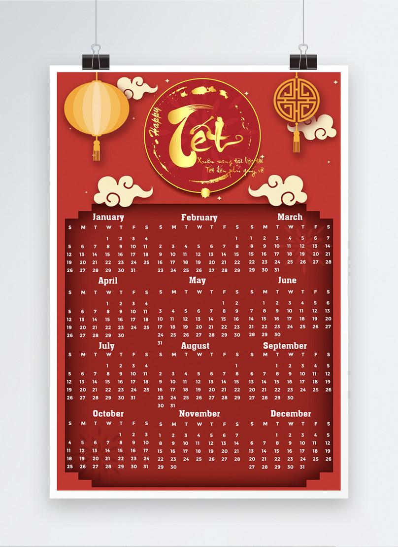 vietnam year of the rat red calendar