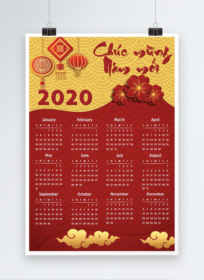 vietnam 2020 year of the rat red calendar