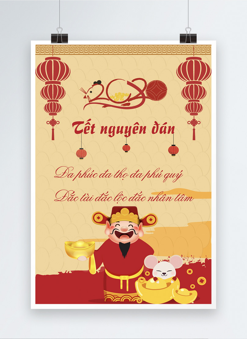 happy lunar new year poster in vietnamese