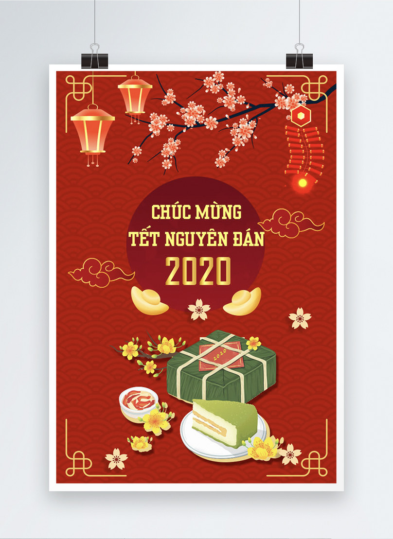 red vietnamese happy lunar new year poster