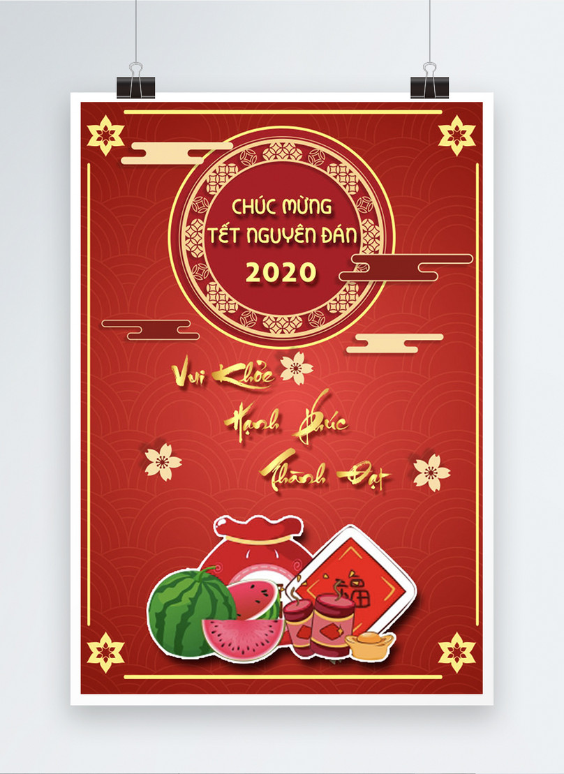 spring festival poster with frame and simple red background