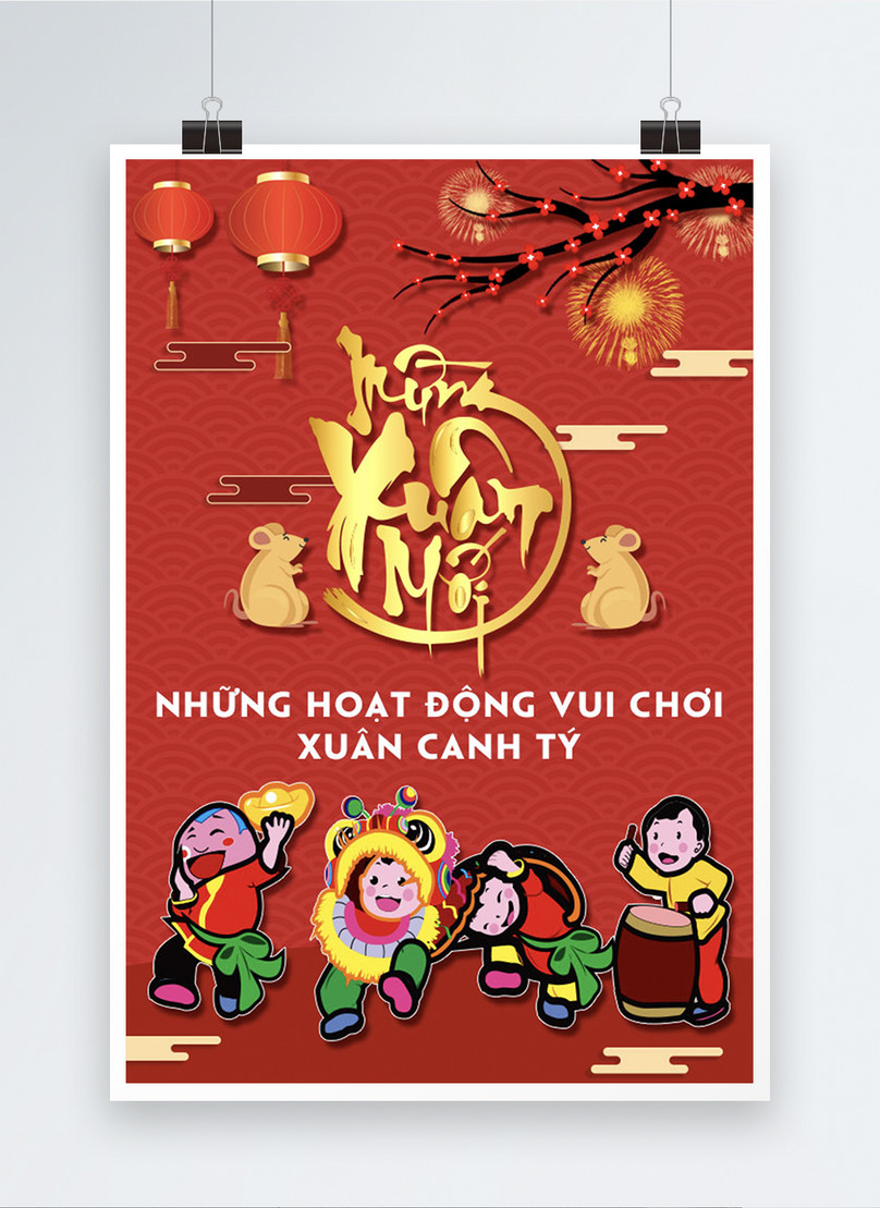 traditional red vietnam lunar new year poster
