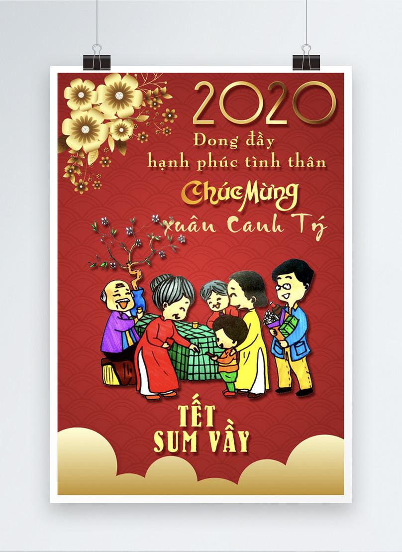 vietnam red lunar new year poster