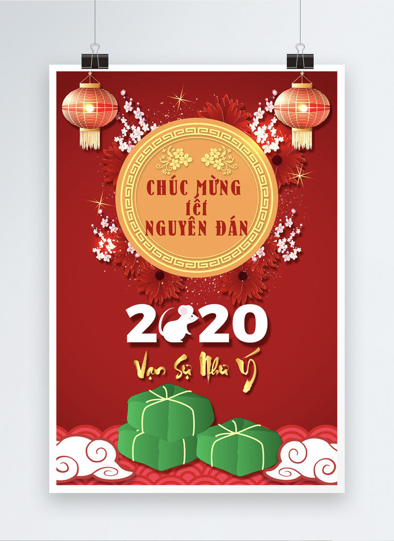vietnam traditional happy lunar new year poster