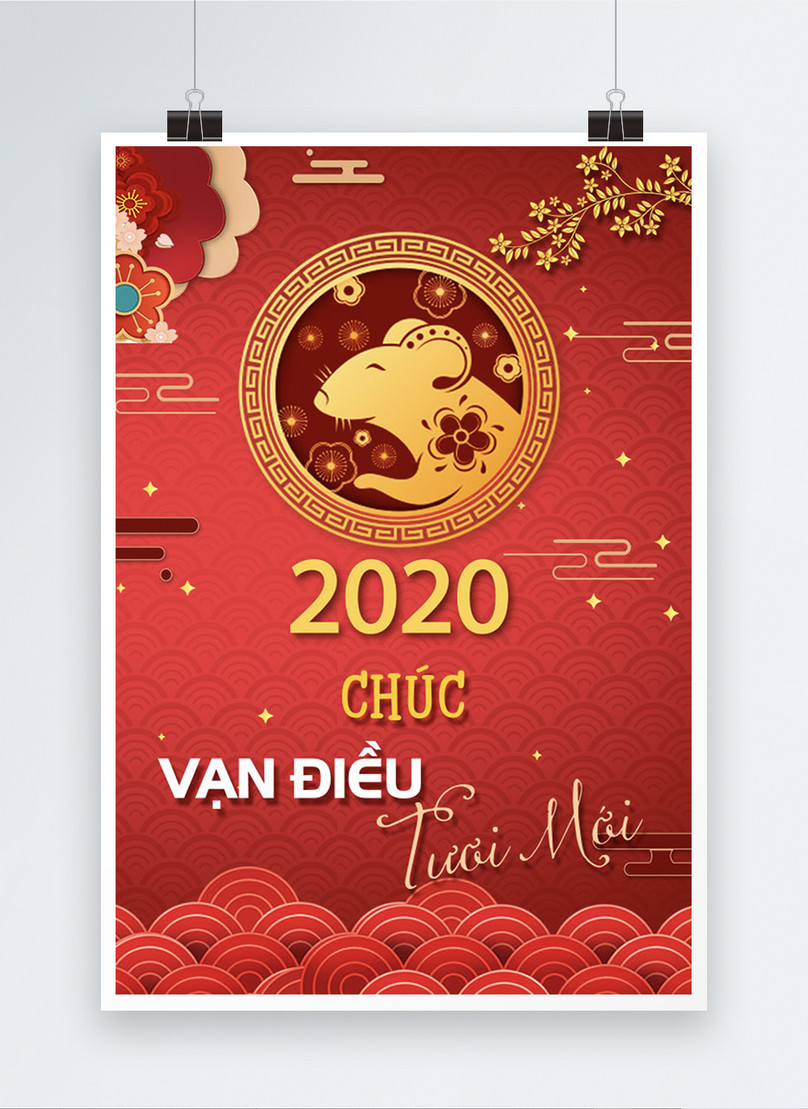 vietnam traditional rat year lunar new year poster