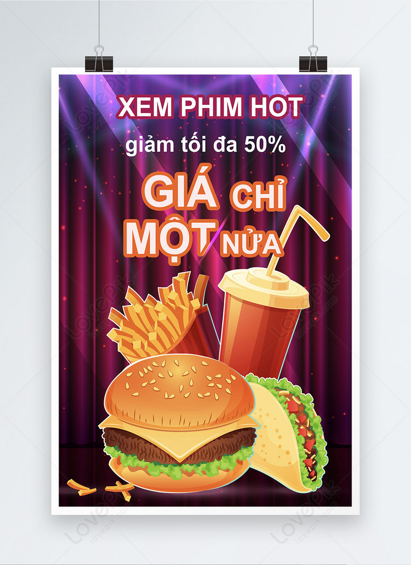 retro style cinema snack promotion poster