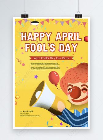 Affiche du jour du poisson d'avril de dessin animé Modèles