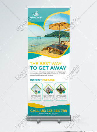 Roll up banner for travel agency or airlines Templates