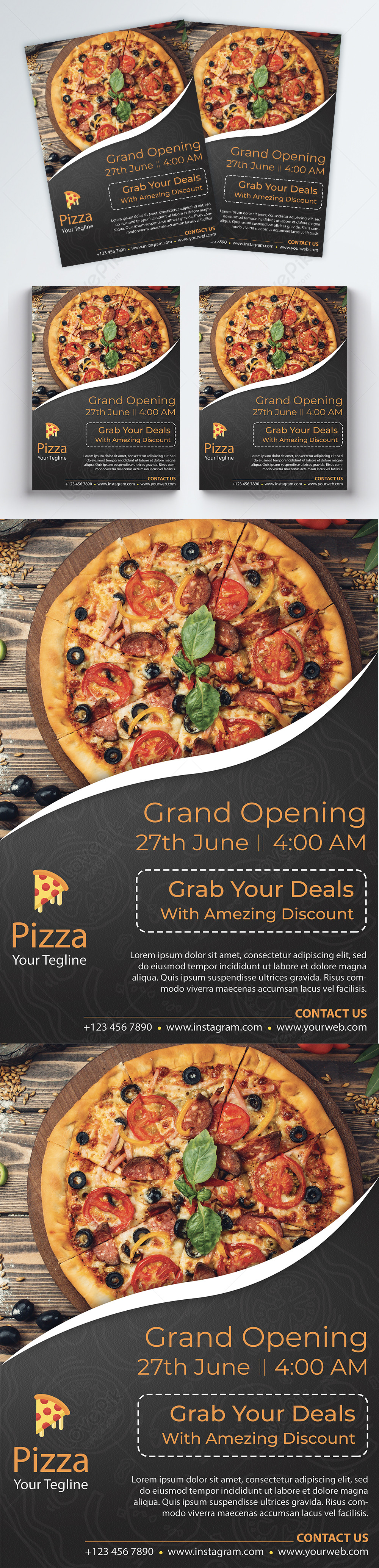Grand Opening Pizza Restaurant Flyer Template Image Picture Free Download 450007618 Lovepik Com