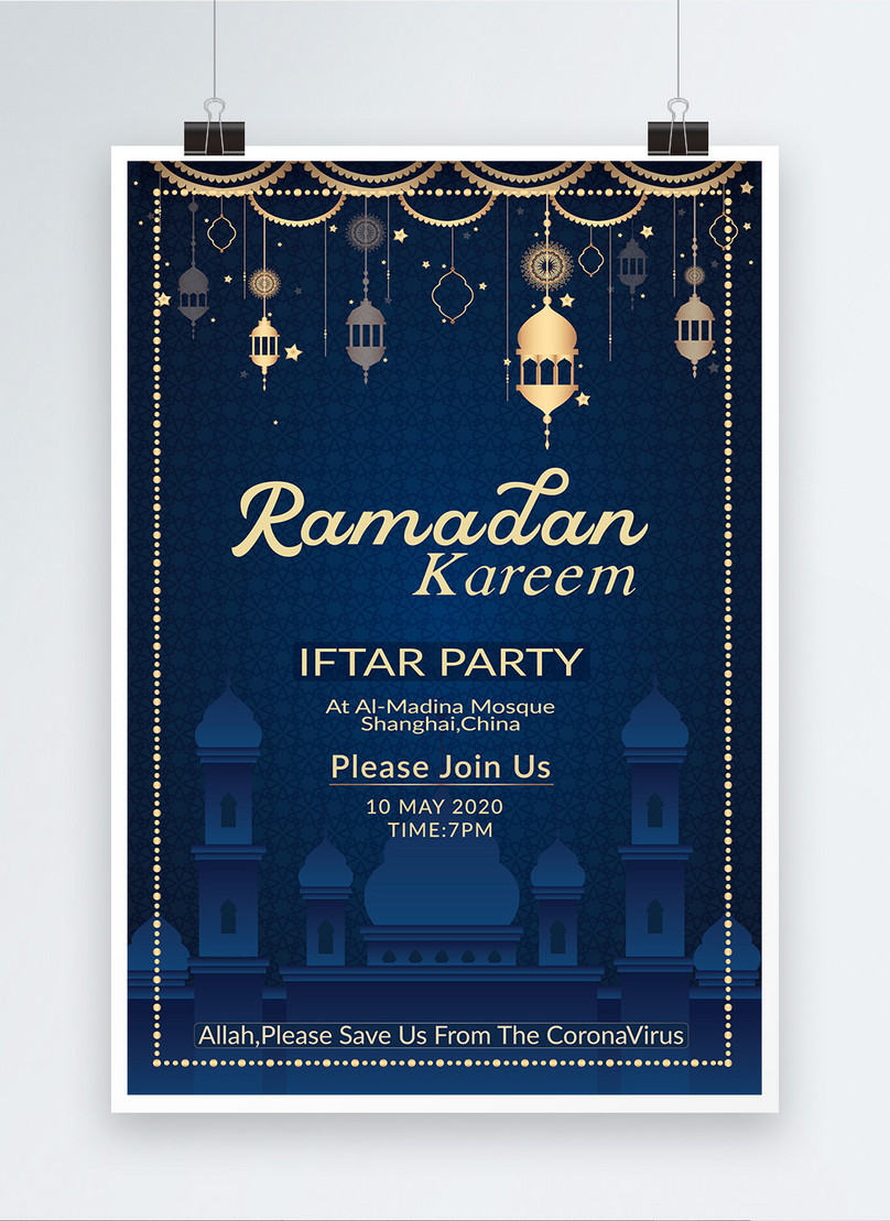 cartaz azul elegante de ramadan kareem