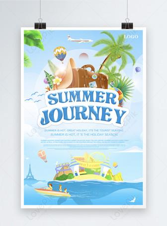 cartoon summer travel poster Templates