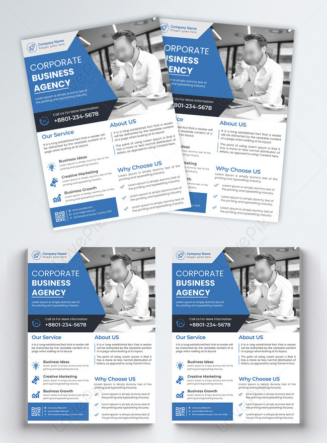 blue and mordern corporate business flyer