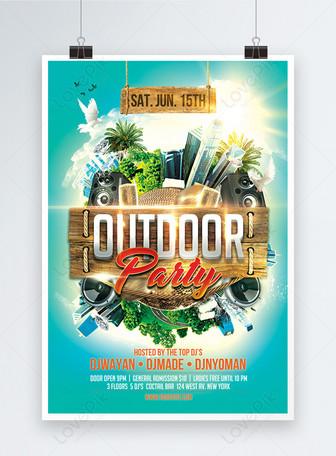 야외 파티 Dj 음악 이벤트 포스터 템플릿