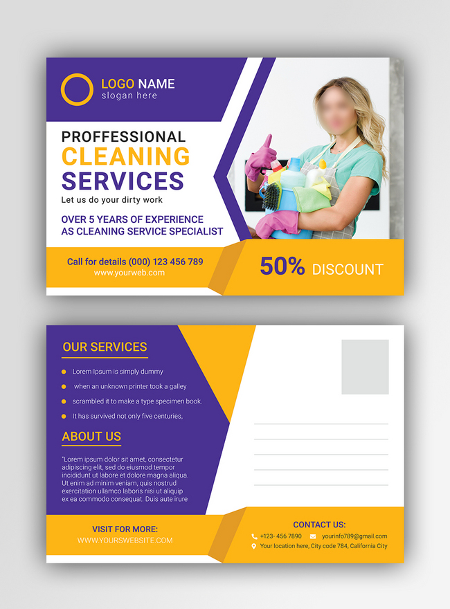professional cleaning service postcard