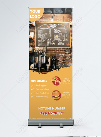 creative latest Restaurant Food Roll-up Banner Templates