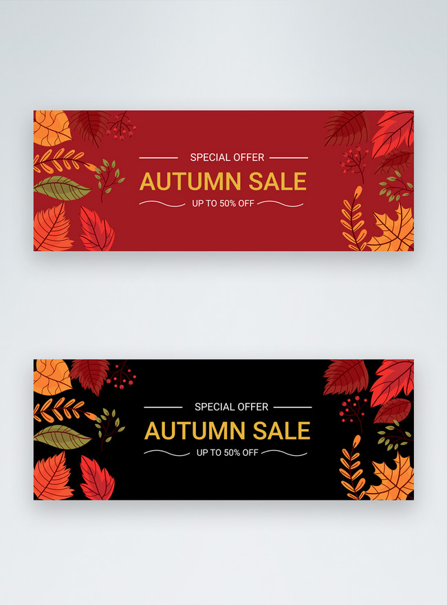 duotone concise autumn sale offer facebook cover