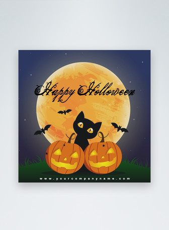 cartoon happy Halloween day social media post Templates