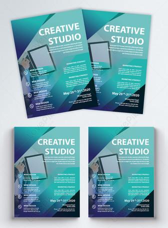 niebieski gradient ulotka Studio Business Szablony