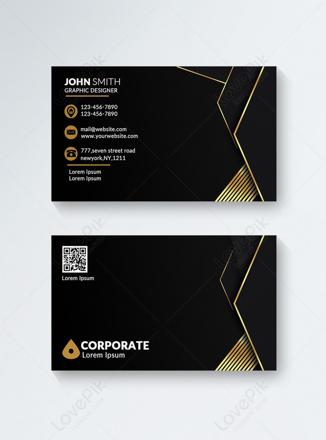 black modern business card