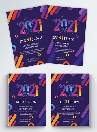 Selebaran Pesta Selamat Tahun Baru 2021 yang Elegan Templat