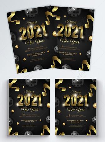 Folheto de festa do DJ ouro preto na moda feliz ano novo 2021 Modelos