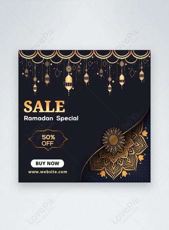Ramadan Kareem Luxus Rabatt Social Media Banner Post Vorlagen