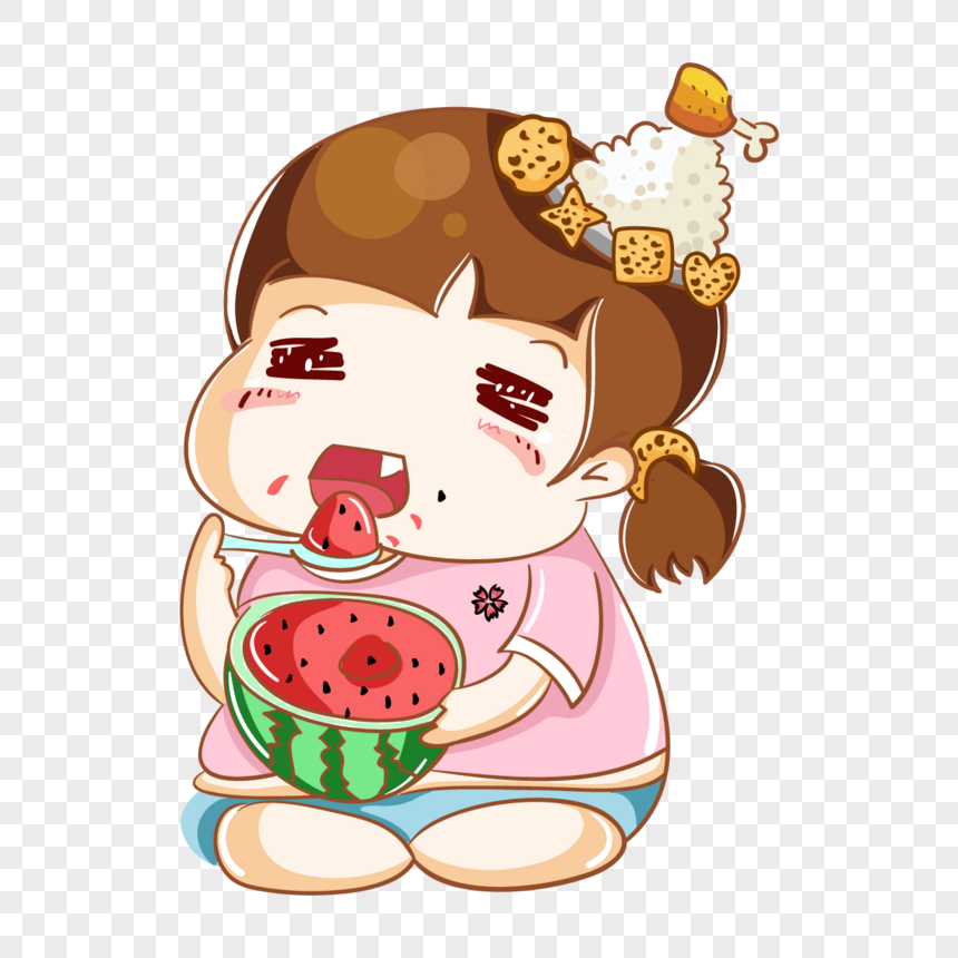 a girl who eats watermelon png