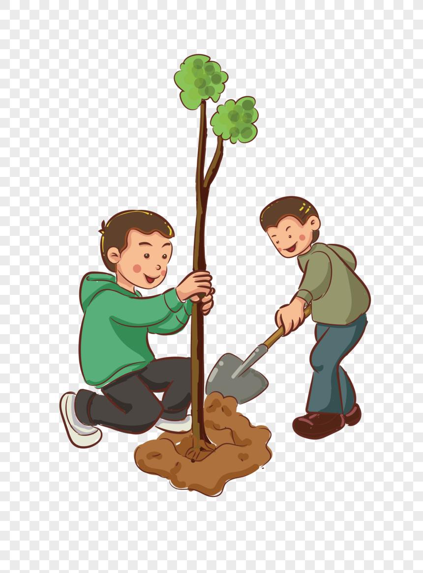 الأطفال معا أنشطة غرس الأشجار وتصميم الرسوم المتحركة النمط البصري صورة والأعمال التجارية الأطفال أنشطة غرس الأشجار معا