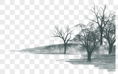 Ink and wash scenery png