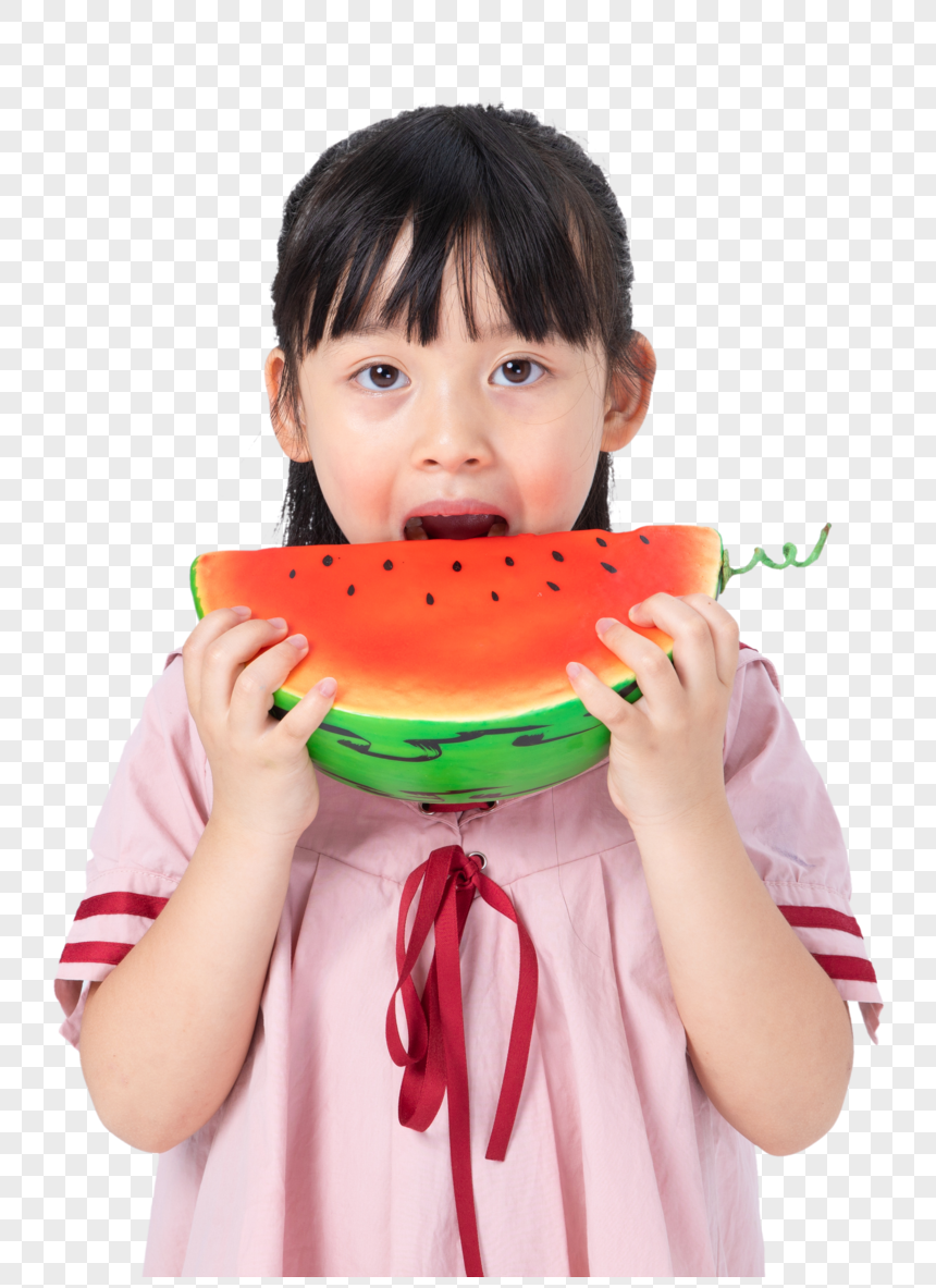 a little girl who eats watermelons png