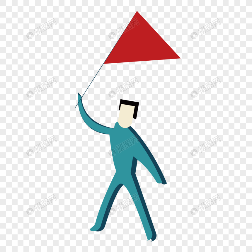 Watak Kartun Memegang Bendera Merah Gambar Unduh Gratisimej