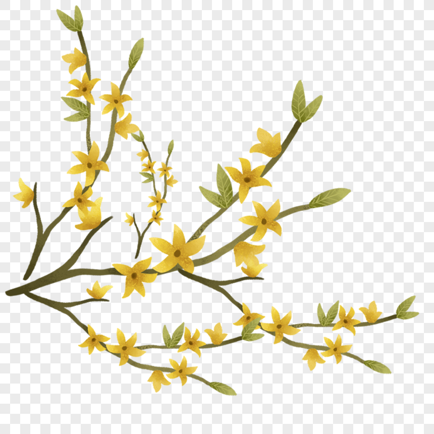 Yellow Flower Branches Png Image Picture Free Download