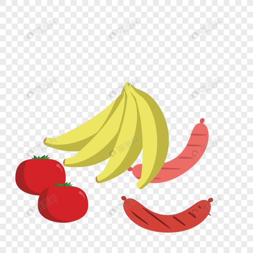 ベクトルフルーツバナナソーセージイラスト要素イメージグラフィックス