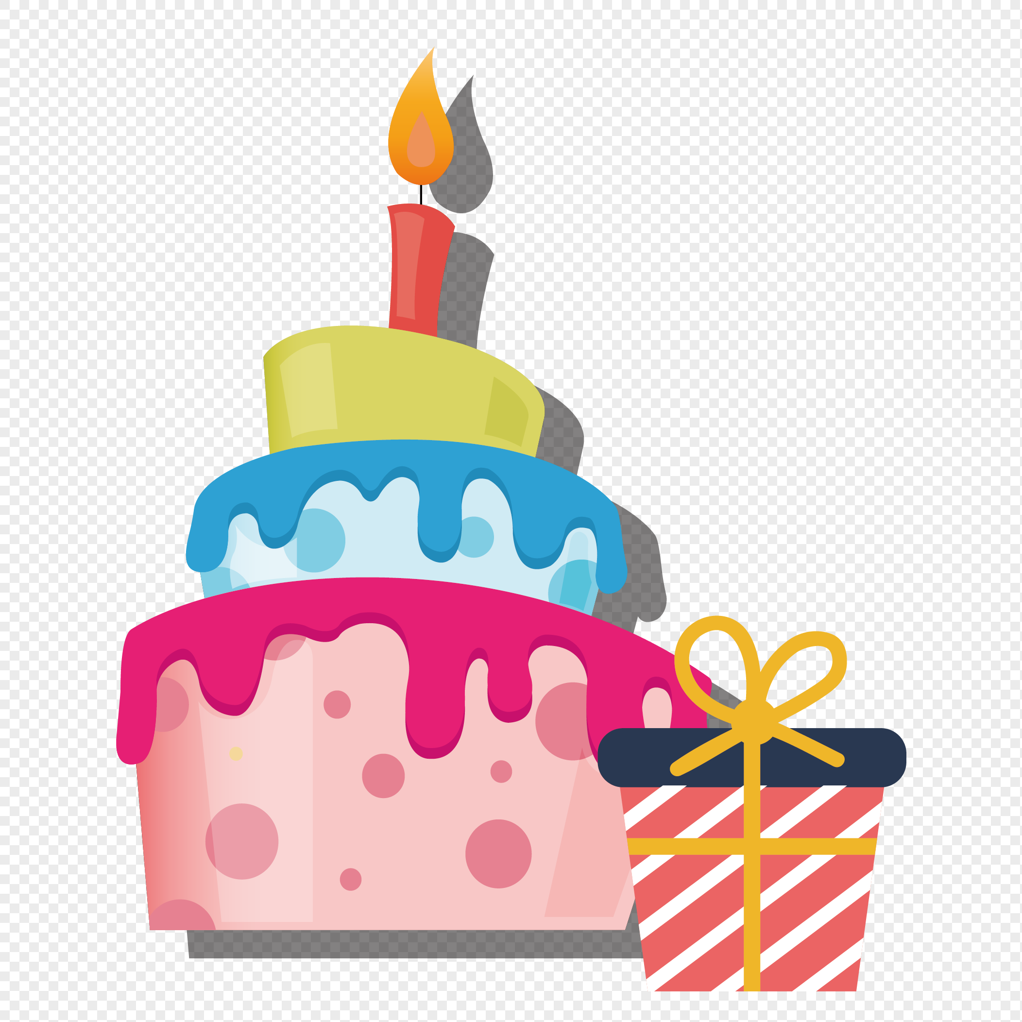 birthday cake gift box candle elements png image picture free