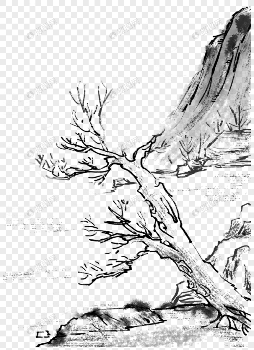 chinese ink painting landscape png