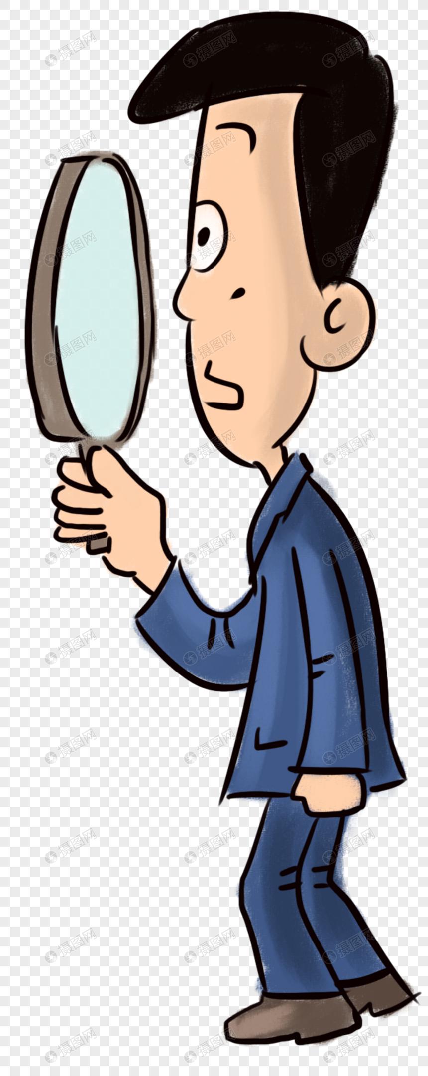 手持放大鏡的人 png