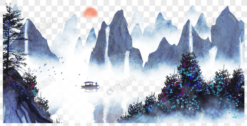 chinese wind and ink landscape painting png