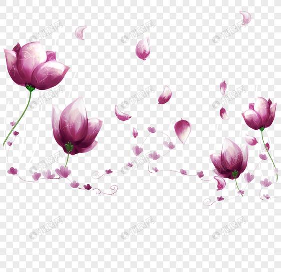 Fondo De Flores De Color Rosa Purpura De Dibujos Animados Imagen