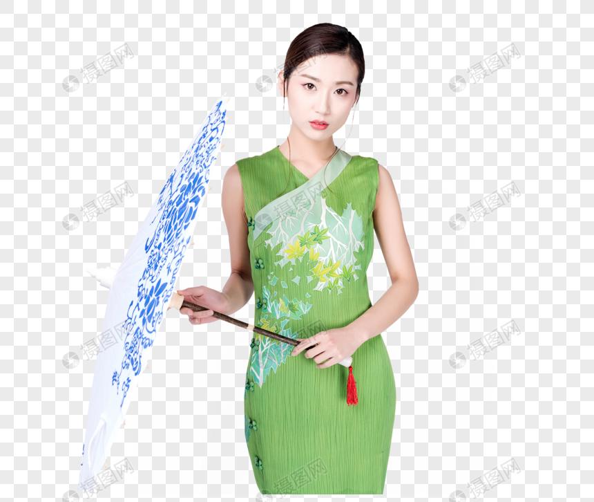 Người đẹp áo Dài Bằng Màu Xanh Lá Cây ô Giấy Dầu Hình ảnh
