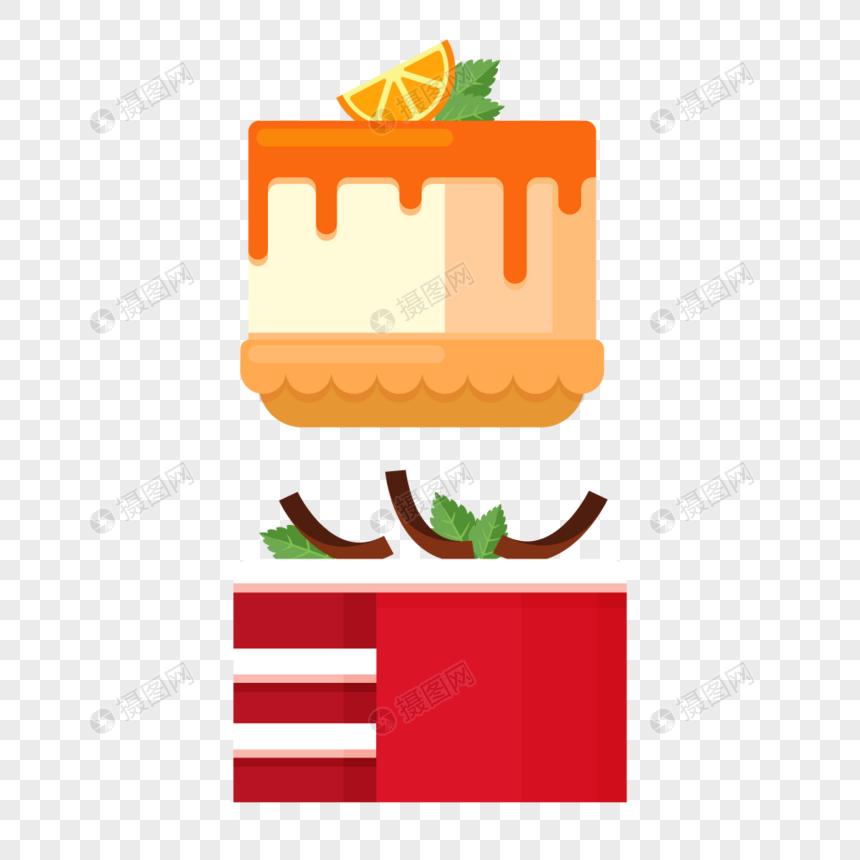 Creative Fruit Cake Flatten Birthday Design Material