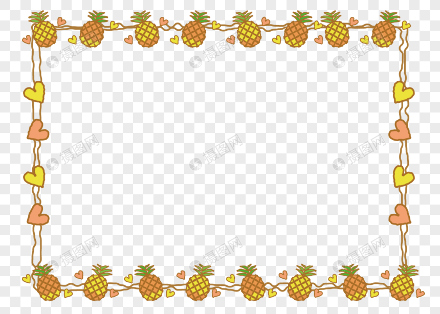 Pineapple decorative border hand-painted png image_picture ...